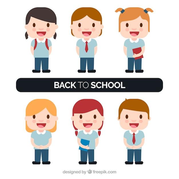Set of smiling children in school\ uniform