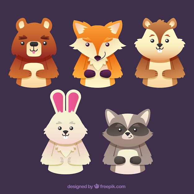 Set of smiling forest animals