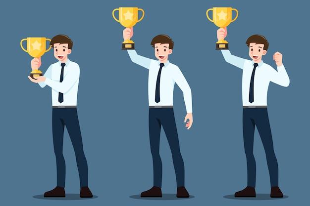 Smily 사업가 인상 & 금 트로피 우승 컵을 들고의 집합입니다. 프리미엄 벡터
