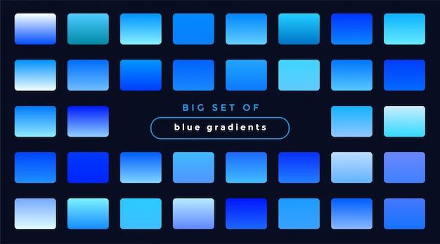 滑らかな青いグラデーションのセット 無料ベクター