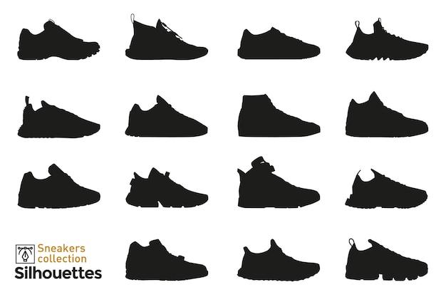 Набор силуэтов кроссовок для мужчины и женщины. элементы моды. иконки туфли для. Premium векторы