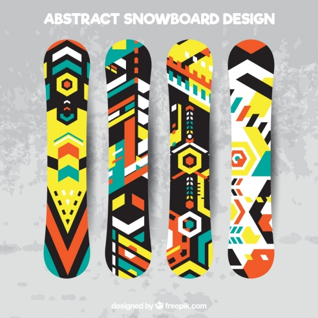 Set of snowboards in geometric style