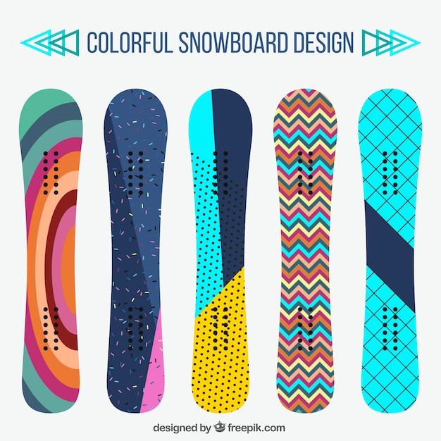 Set of snowboards in modern design