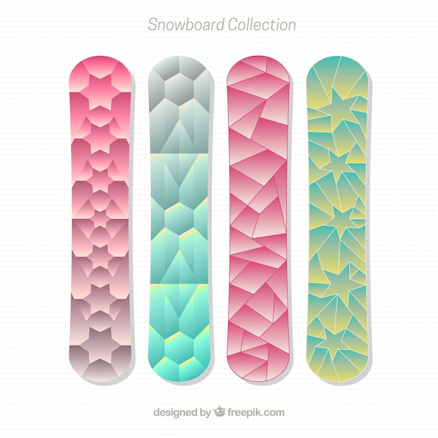 Set of snowboards in polygonal design