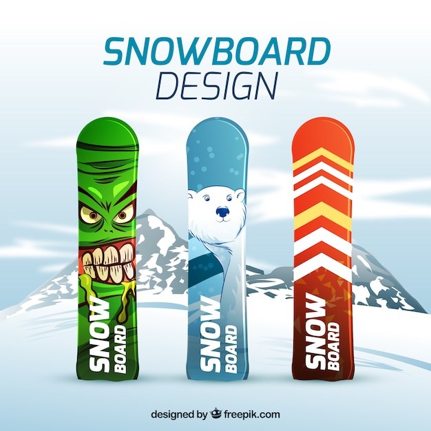 Set of snowboards nailed in the snow