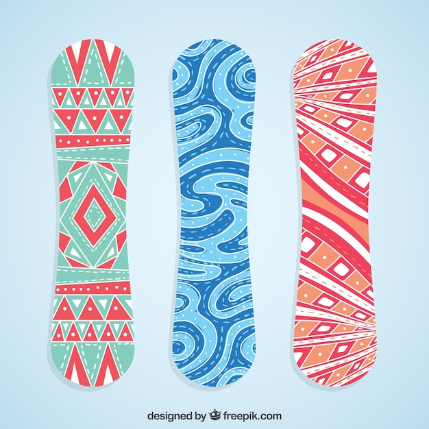 Set of snowboards with abstract shapes