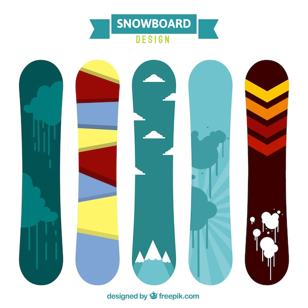 Set of snowboards with different abstract\ designs