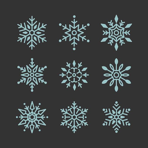 Snowflakesクリスマスデザインベクトルのセット 無料ベクター