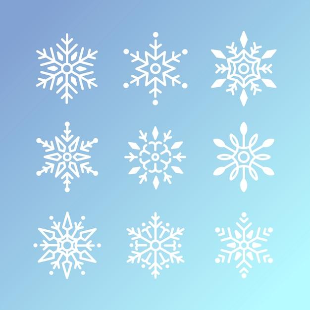Набор снежинок рождественский дизайн вектор Бесплатные векторы