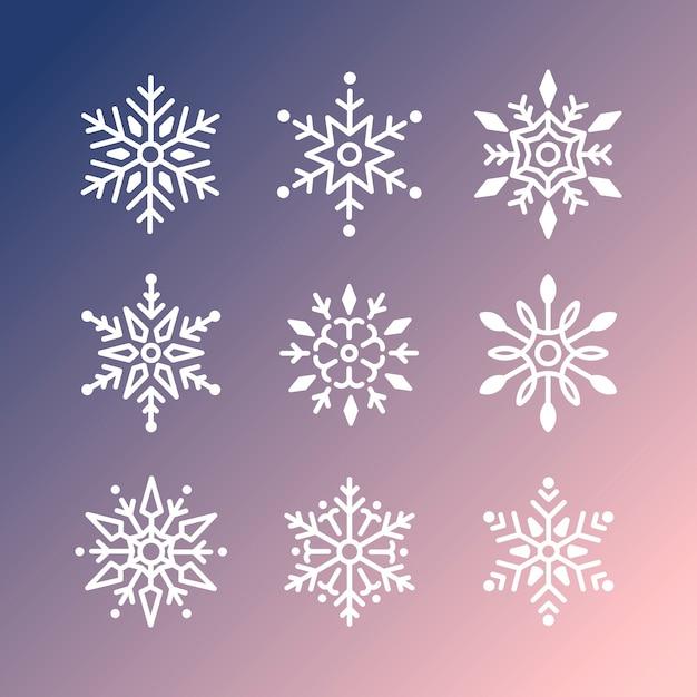 Набор снежинок рождественский дизайн Бесплатные векторы