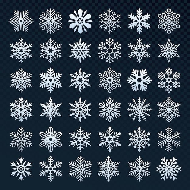 Набор снежинок силуэт коллекции Premium векторы