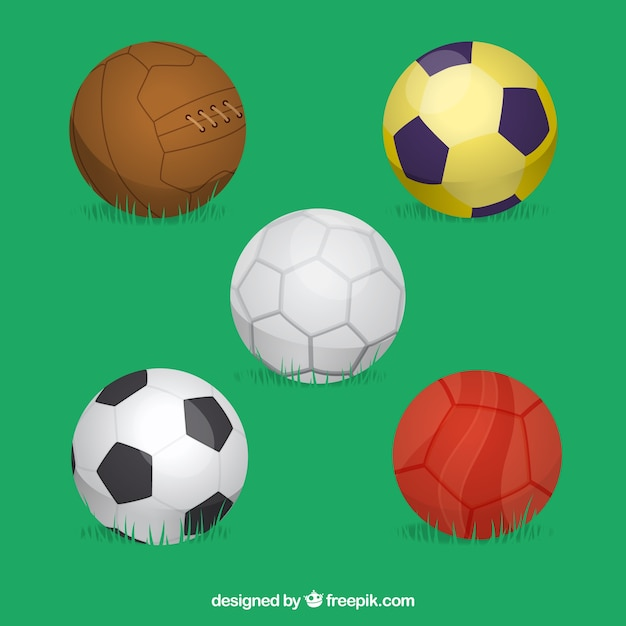 Set of soccer balls in flat style