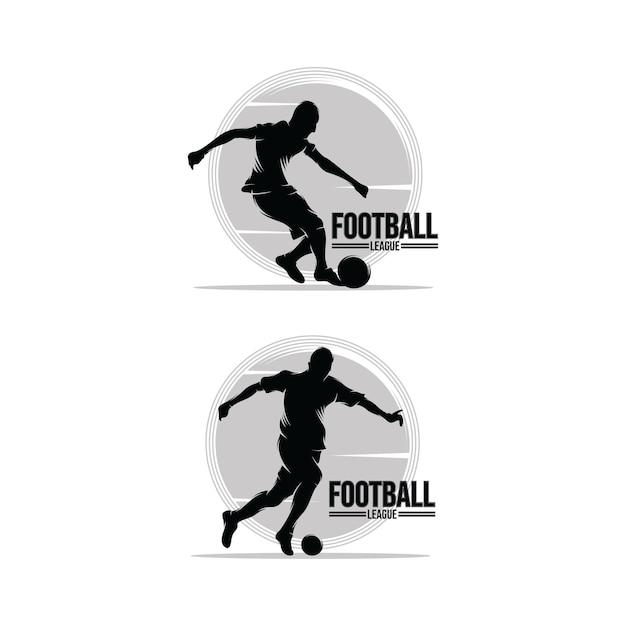 Набор шаблонов дизайна логотипа футболиста Premium векторы