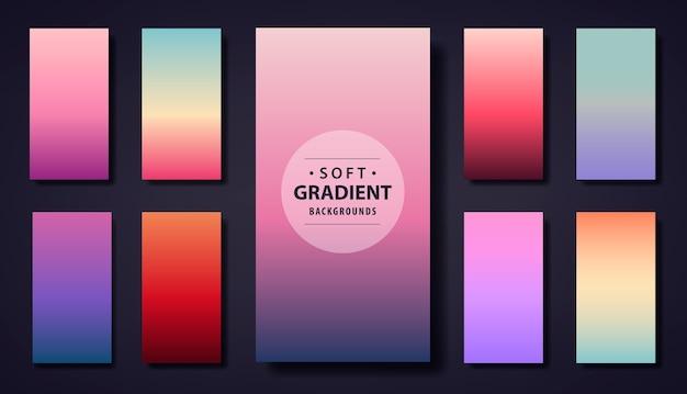 ソフトグラデーションの背景のセット。電話アプリ、ソーシャルネットの壁紙ストーリー、グリーティングカード、チラシ、招待状、ポスター、パンフレット、バナーカレンダーに使用 Premiumベクター