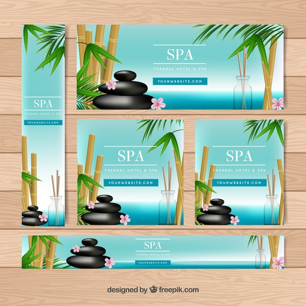 Set of spa center banners with candles and\ aromatic flowers