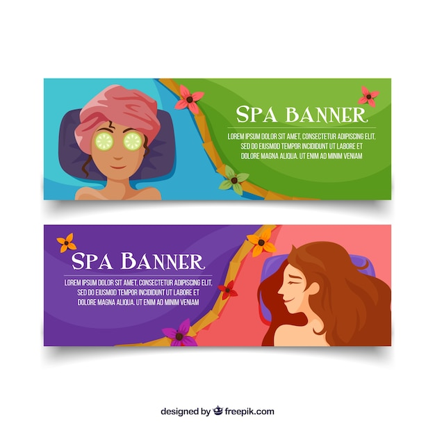 Set of spa center banners with woman\ relaxed