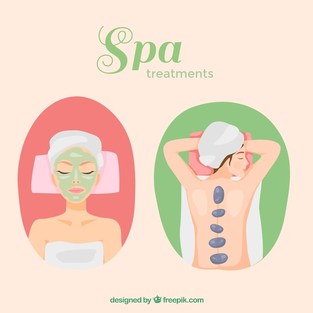 Set of spa treatments Free Vector