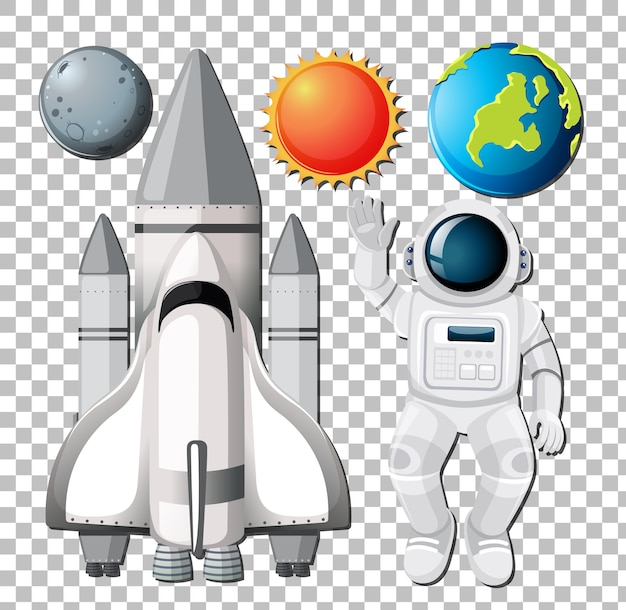 Набор космических элементов с astronuat на прозрачном фоне Бесплатные векторы