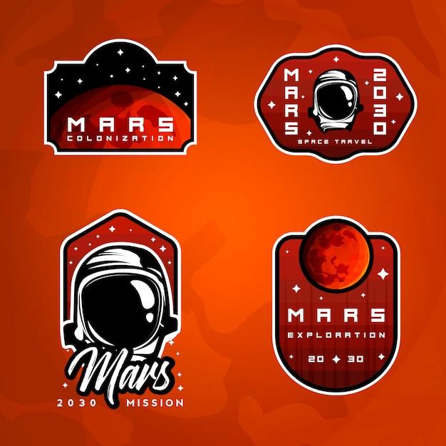 Набор значков исследования космоса. коллекция стикеров «полет на марс» Premium векторы