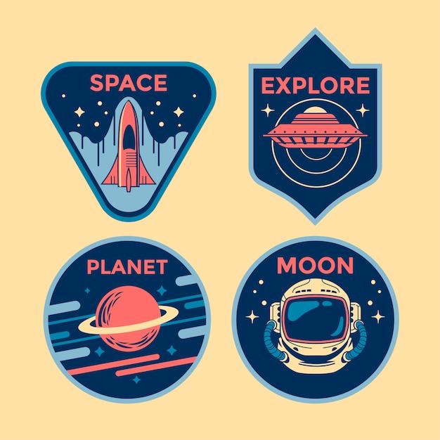 宇宙ミッションパッチバッジとロゴエンブレムのセット Premiumベクター