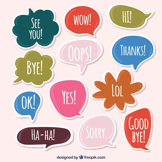 Set of speech bubble stickers with words free vector