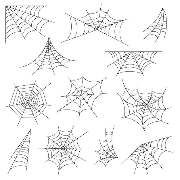 거미줄과 할로윈 거미줄 장식 세트 프리미엄 벡터