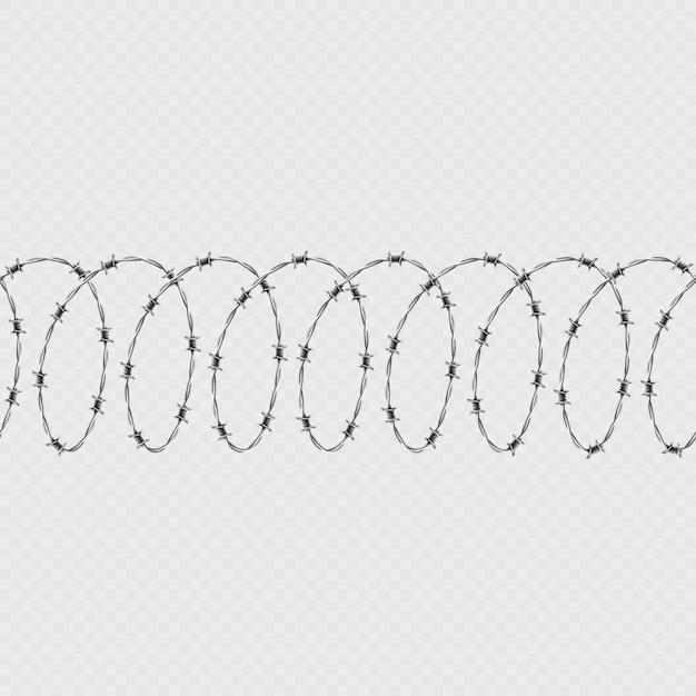 Набор спиральной формы колючей проволоки, изолированных на прозрачном фоне. горизонтальные бесшовные модели с витой колючей проволокой. Premium векторы
