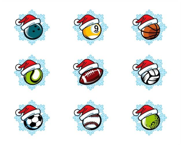 スポーツボールクリスマステーマロゴのセット Premiumベクター