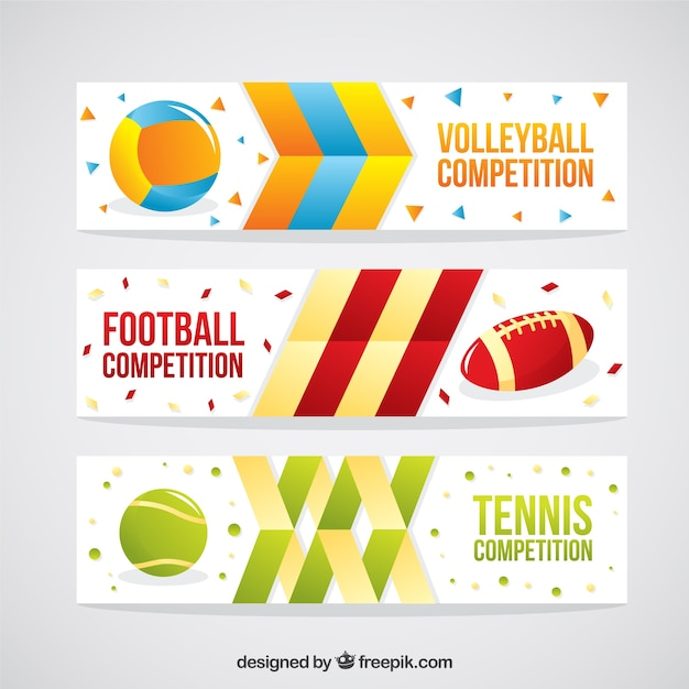 Set of sport balls abstract banners