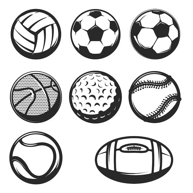 흰색 바탕에 스포츠 공 아이콘의 집합입니다. 로고, 라벨, 엠 블 럼, 사인, 브랜드 마크 요소. 프리미엄 벡터