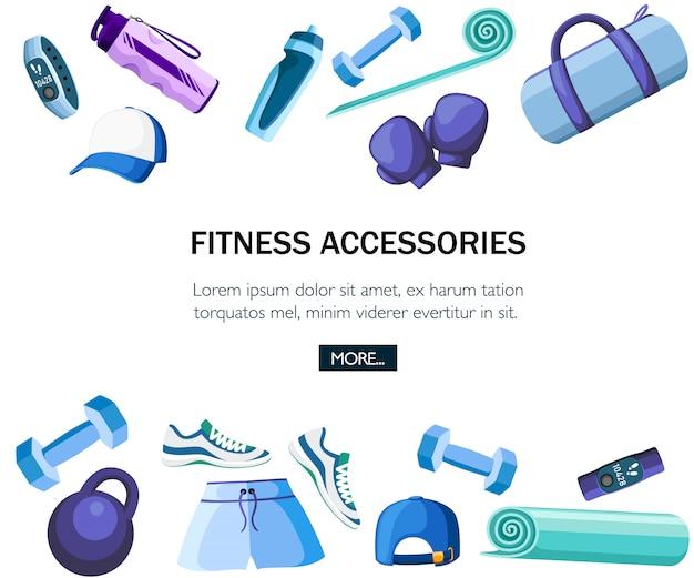 스포츠 액세서리 및 의류 세트. 파란색과 보라색 색상 컬렉션. 체육관에서 수업에 대한 아이콘. 흰색 배경에 그림입니다. 텍스트 배치 프리미엄 벡터