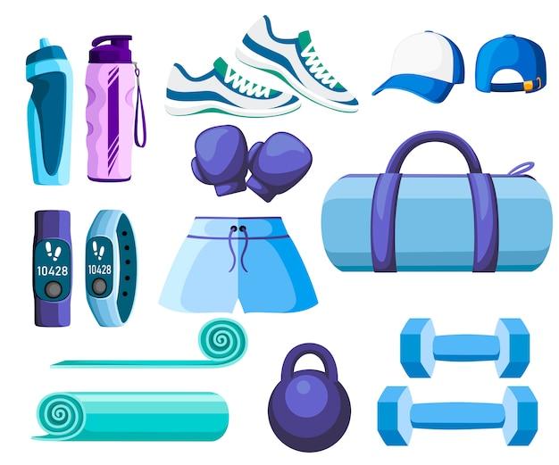 스포츠 액세서리 및 의류 세트. 파란색과 보라색 색상 컬렉션. 체육관에서 수업에 대한 아이콘. 흰색 배경에 그림 프리미엄 벡터