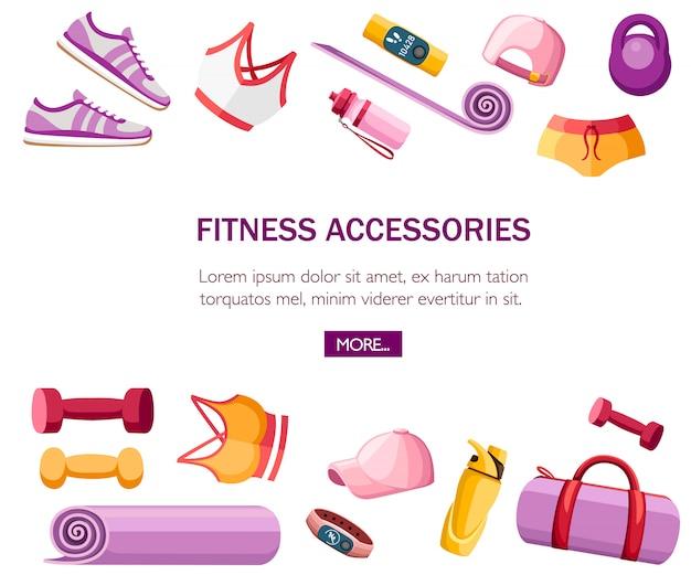 스포츠 액세서리 및 의류 세트. 여성 의상. 오렌지와 핑크 색상 컬렉션. 체육관에서 수업에 대한 아이콘. 흰색 배경에 그림입니다. 텍스트 배치 프리미엄 벡터