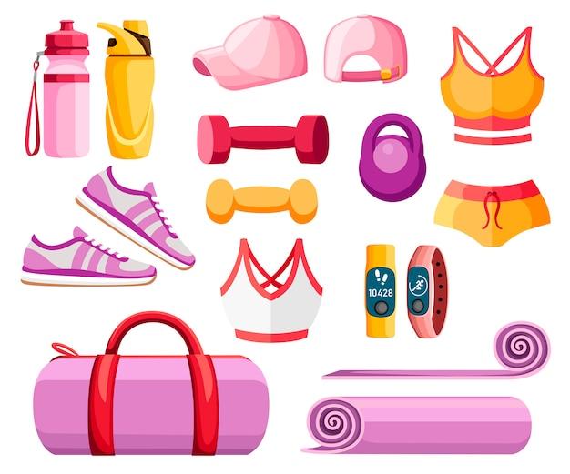 스포츠 액세서리 및 의류 세트. 여성 의상. 오렌지와 핑크 색상 컬렉션. 체육관에서 수업에 대한 아이콘. 흰색 배경에 그림 프리미엄 벡터