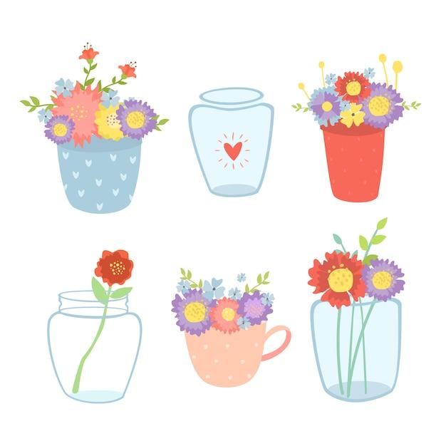 花瓶の春の花のセット 無料ベクター