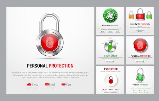Набор квадратных баннеров для защиты информации. веб-шаблоны с замком, кнопкой с отпечатком пальца, механическим замком и контроллером уровня для облака, почты и банковских карт. Premium векторы