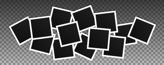 정사각형 사진 프레임 세트입니다. 고립 된 현실적인 프레임의 콜라주 프리미엄 벡터