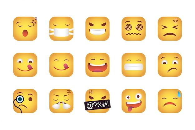 Набор квадратов смайликов лица персонажей Бесплатные векторы