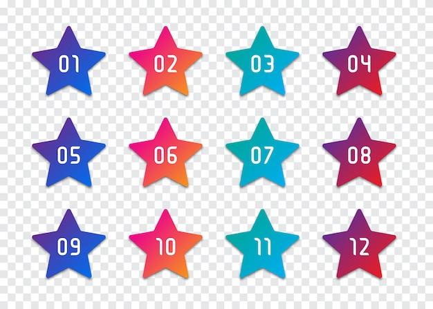 星番号の箇条書きのポイント1〜12のセット Premiumベクター