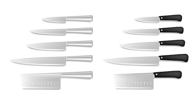白で隔離される鋼の包丁のセットです。レストランシェフナイフコレクション、肉屋のナイフ、現実的なカトラリーアイコン Premiumベクター