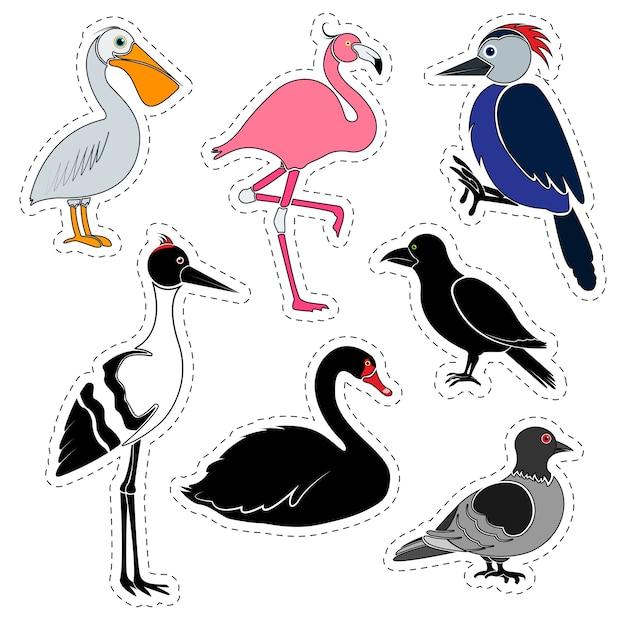 ステッカーのセット。白いスペースに隔離されたさまざまな鳥。 Premiumベクター