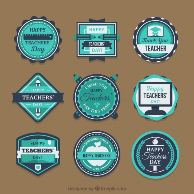 Set of stickers in blue tones for the teacher\'s\ day