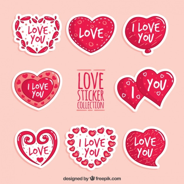 Set Of Stickers Of Hearts With Love Messages Vector Free