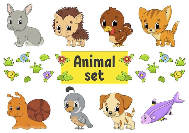 귀여운 만화 캐릭터와 스티커 세트입니다. 동물 클립 아트. 프리미엄 벡터