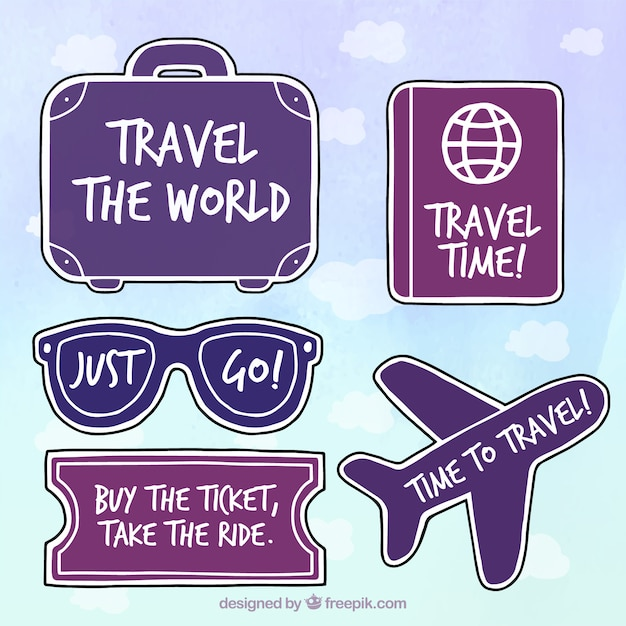 Set of stickers with travel messages