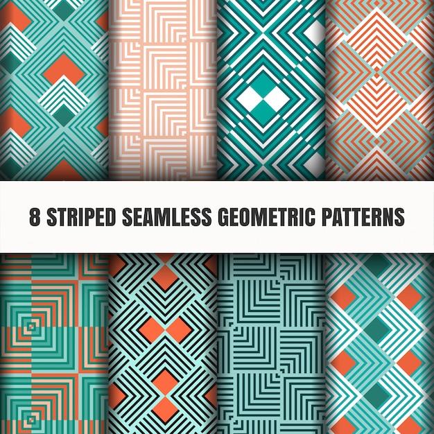 ストライプのシームレスな幾何学模様のセット 無料ベクター