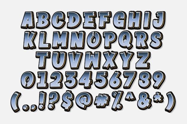 세련 된 만화 알파벳 세트 무료 벡터