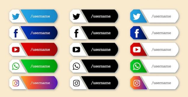 Набор стильных социальных медиа нижних третьих иконок Бесплатные векторы