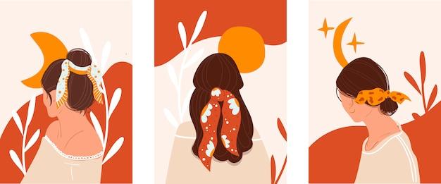 スタイリッシュな若い女の子のセット、サイトのスクリーンセーバー。理髪店、美容室のコンセプト。 Premiumベクター