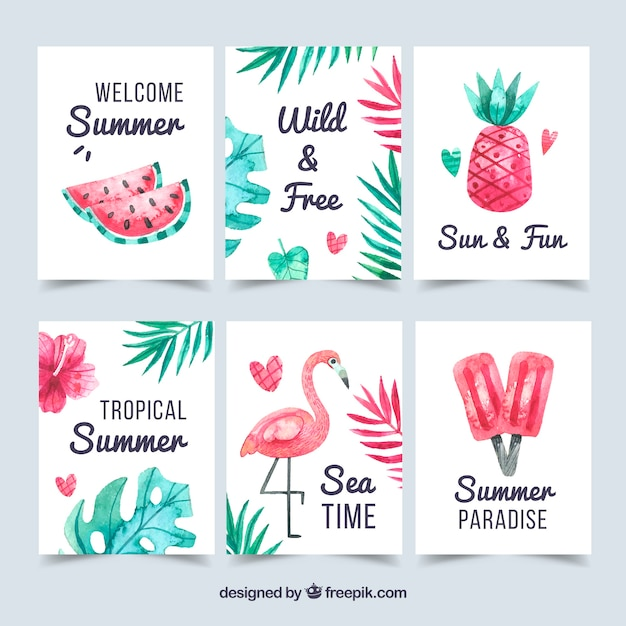 Set of summer cards with beach elements Free Vector